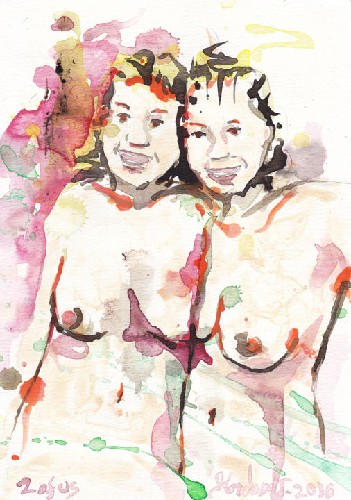 2 of us - © 2016 Painting, acrylic, female, model, figure, red, abstract, nude, lesbian, breasts Online Artworks