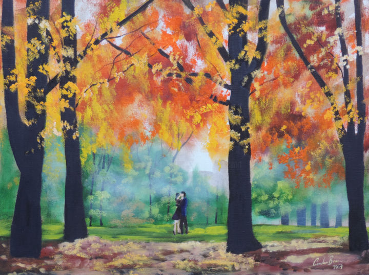 Romantic couple autumn trees - Painting,  12x16x0.5 in, ©2017 by Gordon Bruce -                                                                                                                                                                                                                                                                                                                                                                                                                                                                                                                                                                                          Impressionism, impressionism-603, People, Seasons, Tree, autumn, autumnal, trees, romantic, couple, oil painting, Gordon Bruce art