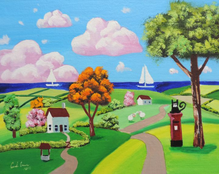 Cat and a red post box - Painting,  8x10x0.2 in ©2017 by Gordon Bruce -                                                                                                                        Folk, Impressionism, Naive Art, Canvas, Boat, Cats, Landscape, Seascape, patchwork fields, folk art, naive art, cat, landscape, seaside