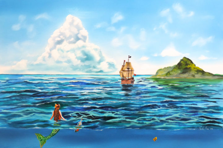 The Little mermaid - Painting,  20x30x1.5 in, ©2016 by Gordon Bruce -                                                                                                                                                                                                                                                                                                                                                                                                                                                                                                                                              Illustration, illustration-600, Fairytales, the little mermaid, mermaid, seascape, oil painting, blue, sea, sailing ship, large oil painting