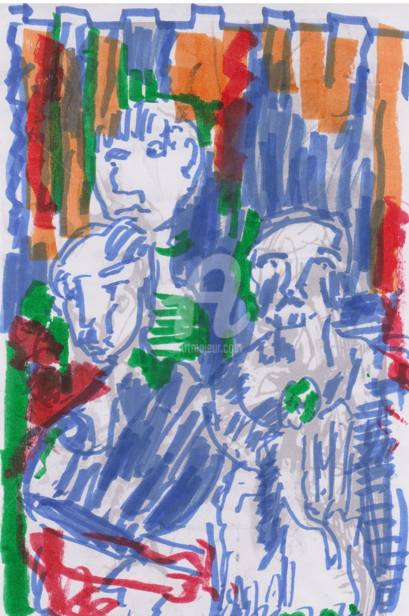 studio-metropolitana - Drawing,  27x16 cm ©2015 by bruno -                                                            Expressionism, Paper, People, affollamento