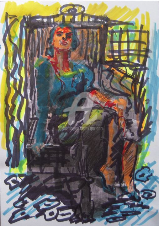 ragazza-del-bar-primula - Drawing,  13.8x9.8 in, ©2015 by bruno -                                                                                                                                                                                                                          Expressionism, expressionism-591, Women, frequentazioni