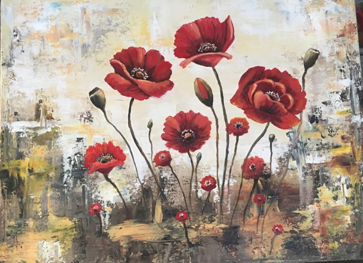 Poppies on abstract painting. - © 2018  Online Artworks