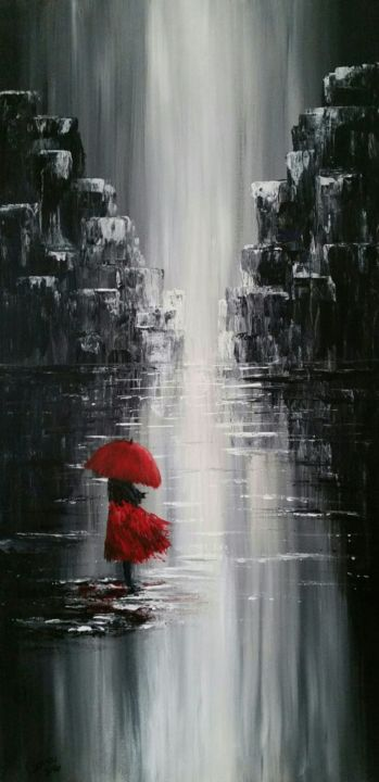 Lady in the rain - ©   Online Artworks