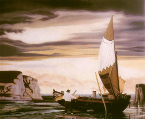 Grand voile - Painting,  65x54 cm ©2008 by Goss -                            Realism, Huile, bateau