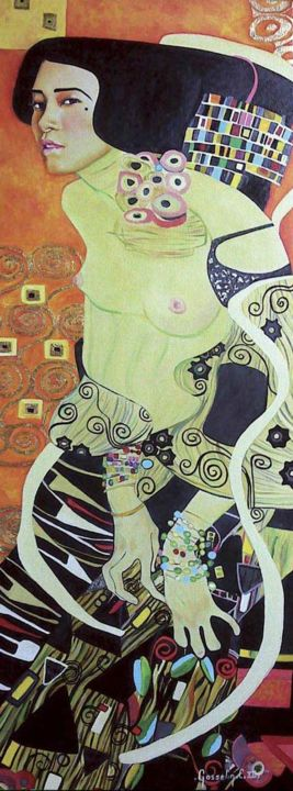 La Japonaise Klimtée - Painting,  90x35 cm ©2010 by Catherine GOSSELIN -                                                                                                                        Figurative Art, Art Nouveau, Metal, Canvas, Asia, Family, Women, Portraits, Femme, Japonaise, Klimt, Huile sur toile, feuille d'or, reproduction, Art nouveau