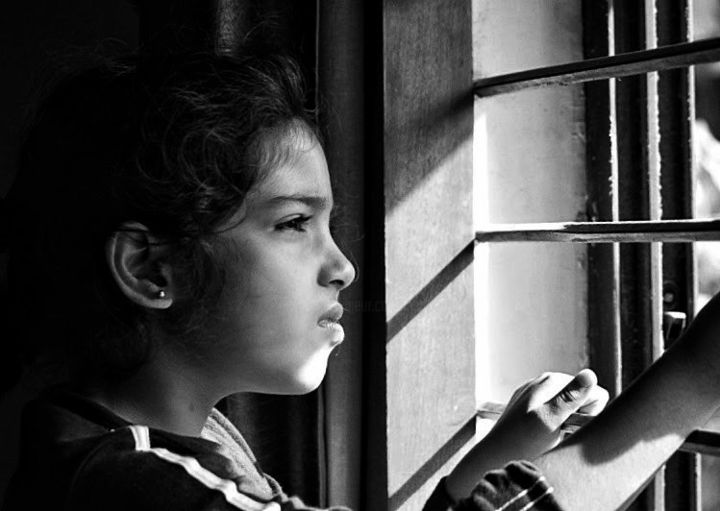 Through the Window! - Photography, ©2014 by Goutam Chakraborty -                                                                                                          Goutam's Photograph!, Black and White