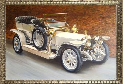 """Painting titled """"Rolls Royce Silver…"""" by Ghislaine Paquette, Original Art,"""