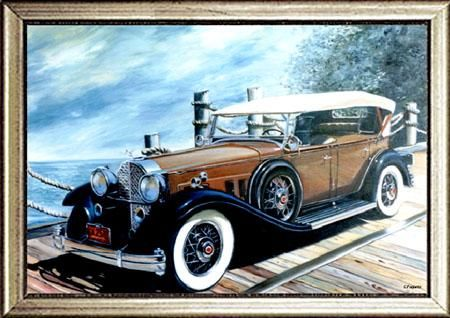 """Painting titled """"Packard V12 Deluxe…"""" by Ghislaine Paquette, Original Art,"""