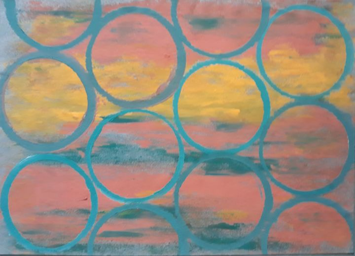 """Painting titled """"Sunset in the summer"""" by Graciete Matos, Original Art, Acrylic"""