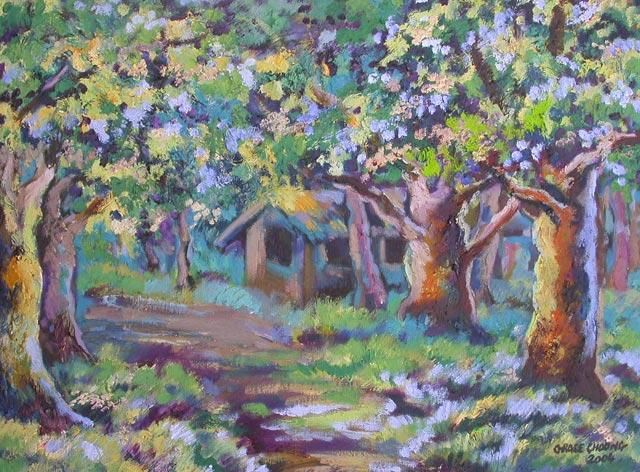 oiltree3 - Painting,  17.7x23.6 in, ©2004 by Grace Choong -