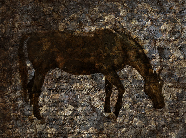 """Digital Arts titled """"Roan Stallion on Pe…"""" by Gracey, Original Art, Collages"""