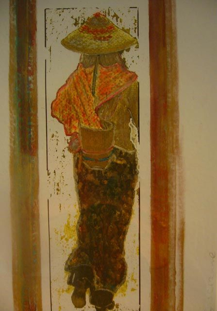 Eternelle chinoise - Painting,  21x30x30 cm ©2009 by Graciannev -                                                            Conceptual Art, Paper, Asia, personnage chinois