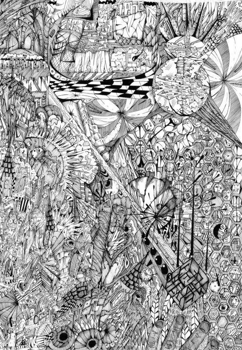 Chaosink2 - Drawing,  22x32x1 in ©2016 by Gaham Edward Rhodes -                                                            Surrealism, Paper, Black and White, ink, surreal, images, figures, people, animals, patterns