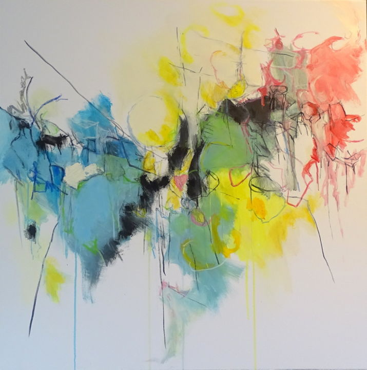 dsc03352.jpg - Painting,  90x90 cm ©2019 by Joëlle Henry -                        Abstract Art