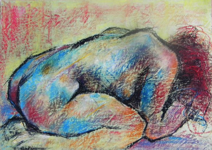 Sans titre - Painting ©2011 by Mahé -                                                            Contemporary painting, Paper, Nude, pastel sec, couleur, nus