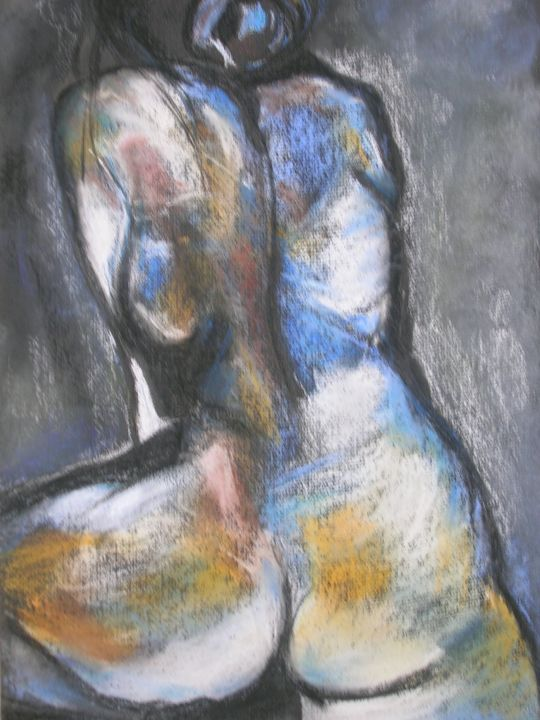 Sans titre - Painting ©2014 by Mahé -                                                        Contemporary painting, Paper, Nude