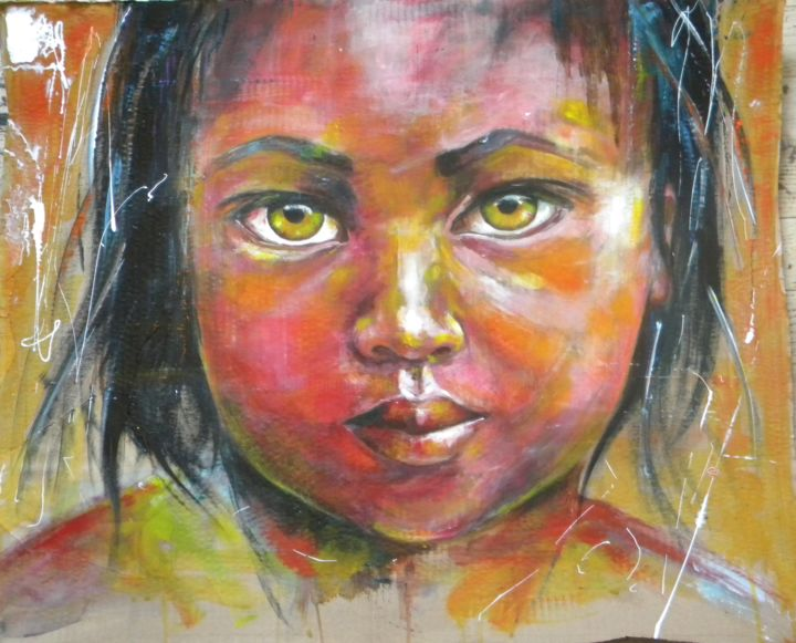 Regarde moi.. - Painting,  59x72 cm ©2014 by Mahé -                                                            Contemporary painting, Other, Children, acrylique, portrait, enfant