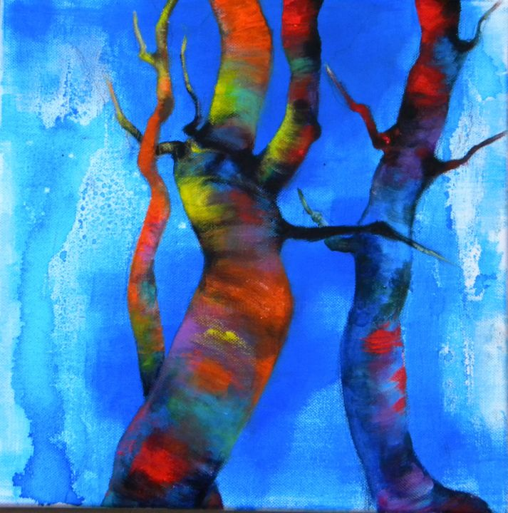 Bavardage... - Painting,  11.8x11.8 in, ©2015 by Marie Granger (Mahé) -                                                                                                                                                          Tree, couleur, arbre