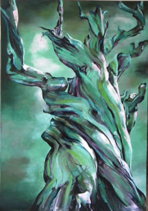 Tourments - Painting,  45.7x31.9 in, ©2015 by Marie Granger (Mahé) -                                                                                                                                                                                                      Tree, arbre, acrylique, couleur
