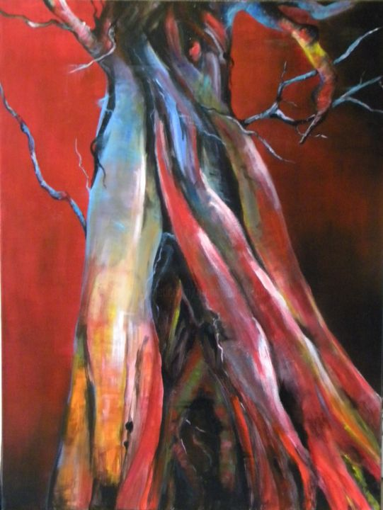 Le sang de la vie!! - Painting,  31.5x23.6 in, ©2015 by Marie Granger (Mahé) -                                                                                                                                                                                                      Tree, couleur, arbres, art contemporain