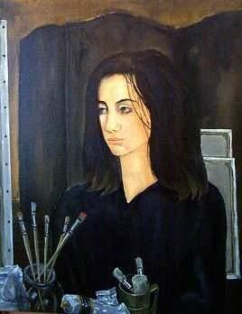 Artist Jo Goldberg at The Slade School of Fine Arts - Painting,  60x39 cm ©2005 by Reginald Gray -                        Classicism