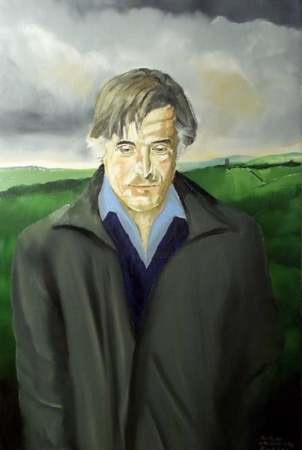 Poet Ted Hughes in the Calder Valley. Collection Bankfield Museum.Halifax. Yorkshire.U.K. - Painting,  51x76 cm ©2007 by Reginald Gray -                        Contemporary painting