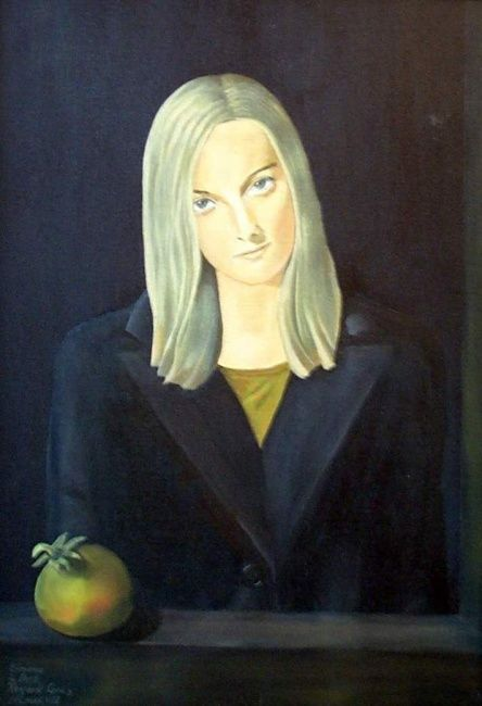 Girl with Pommegranite - Painting ©1995 by Reginald Gray -