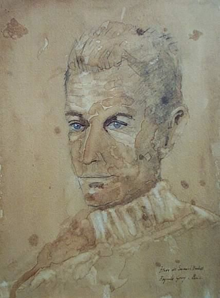 Study from life of Samuel Beckett. Paris . - Painting,  30x24 cm ©1973 by Reginald Gray -