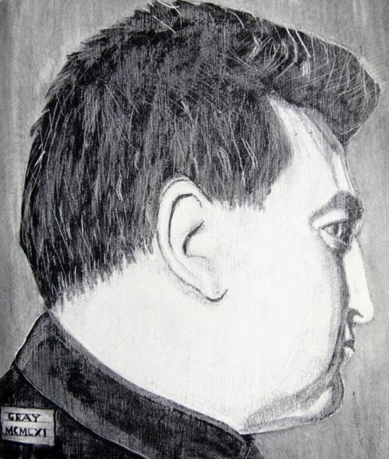 study from life of Brendan Behan 1961 - Painting,  20x22 cm ©1961 by Reginald Gray -