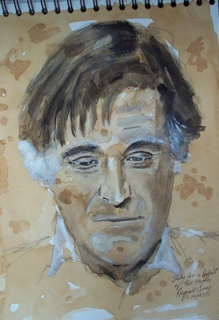 Study for a Portrait of Poet Ted Hughes - Painting,  30x24 cm ©2007 by Reginald Gray -