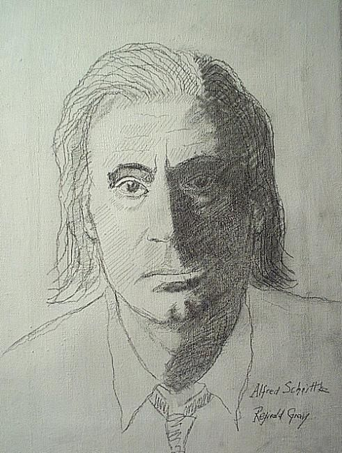 First Study of Alfred Schnittke - Painting,  40x31 cm ©1979 by Reginald Gray -
