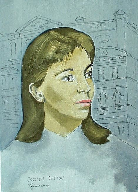 Study of Actress Jocelyn Britton in front of the Royal Court Theatre.London - Painting,  35x27 cm ©1957 by Reginald Gray -
