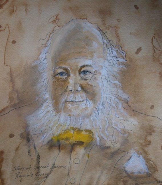 Study of Garech Browne. (Guinness family) - Painting,  9.8x8.7 in, ©2011 by Reginald Gray -