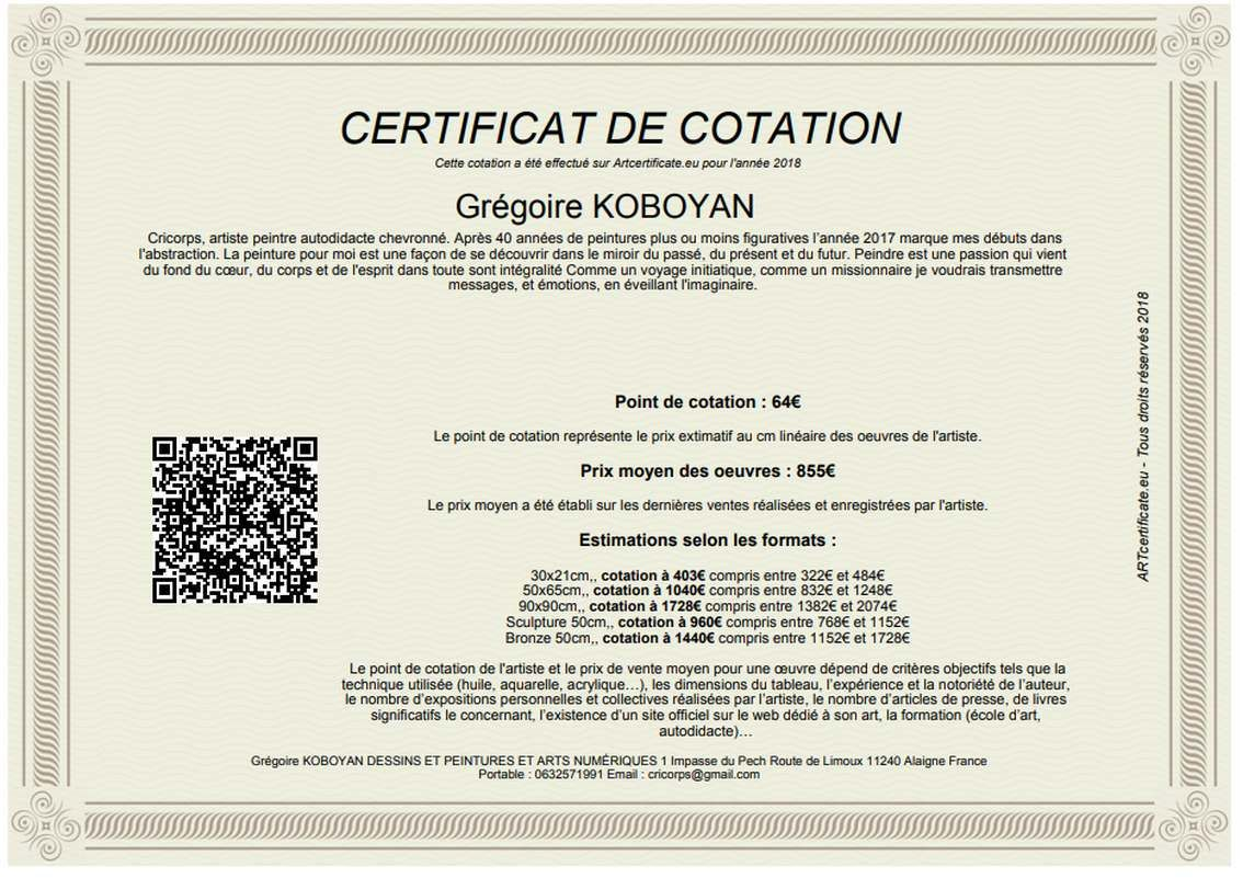 certificate of quotation