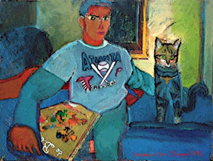 Oski et Titou  le chat - Painting ©1995 by Grégoire  Cricorps KOBOYAN -                                                                                    Expressionism, Canvas, Cats, Kids, Humor, chat, enfant