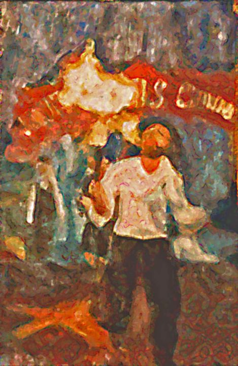Richard cracheur de feu - Painting ©1990 by Grégoire KOBOYAN -                                                                                                            Figurative Art, Impressionism, Canvas, Colors, People, Sports, Education, Richard, cirque, circus, cracheur de feu