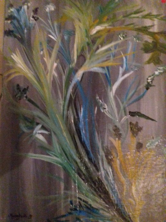 20180117-221327.jpg - Painting,  28.7x21.3x0.8 in, ©2008 by Capucin -                                                                                                                                                                                                                          Abstract, abstract-570, Other, Flower