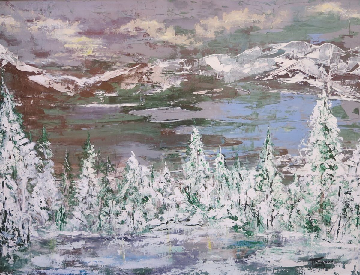 Winter in The Mountains - Painting,  40x30 in ©2013 by James Thompson -