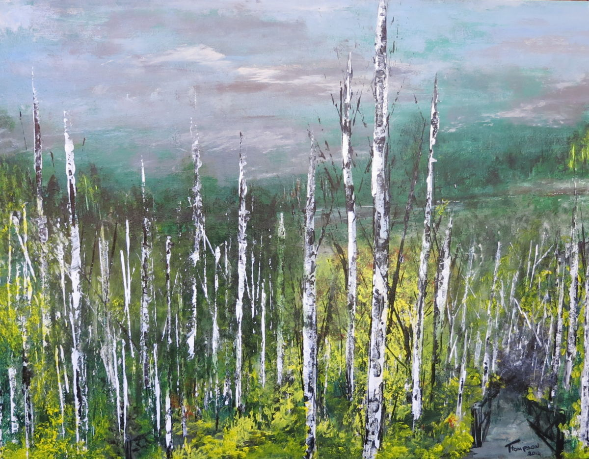 After 2013 - Painting,  20x40 in ©2013 by James Thompson -                                                            Abstract Expressionism, Canvas, Landscape, forest, trees, Canada