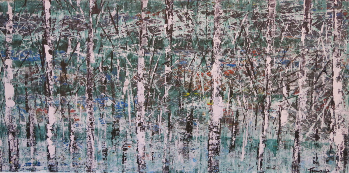 White Wood 2013 - Painting,  48x23 in ©2013 by James Thompson -                                                                        Abstract Expressionism, Canvas, Abstract Art, Landscape, Winter, trees