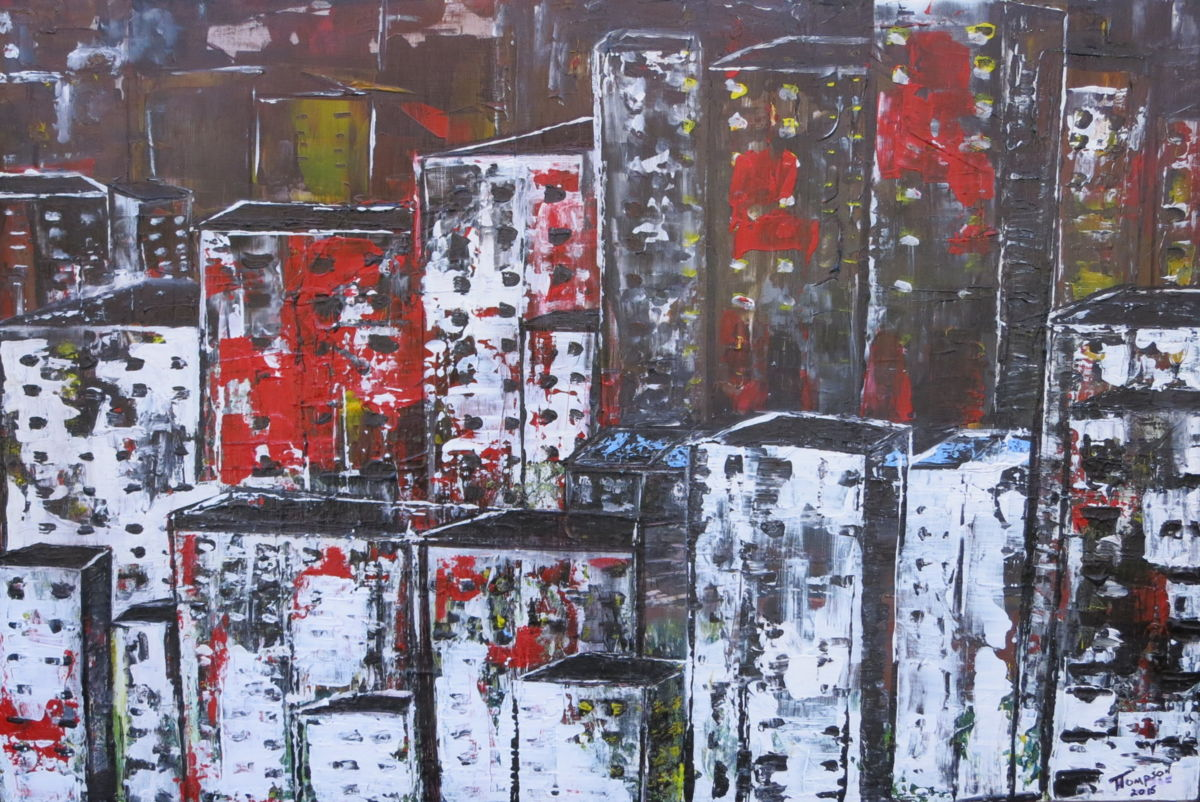 Quickly - Painting,  26x38 in ©2015 by James Thompson -                                                                        Abstract Expressionism, Canvas, Abstract Art, Cities, Vancouver, Canada, Cityscape