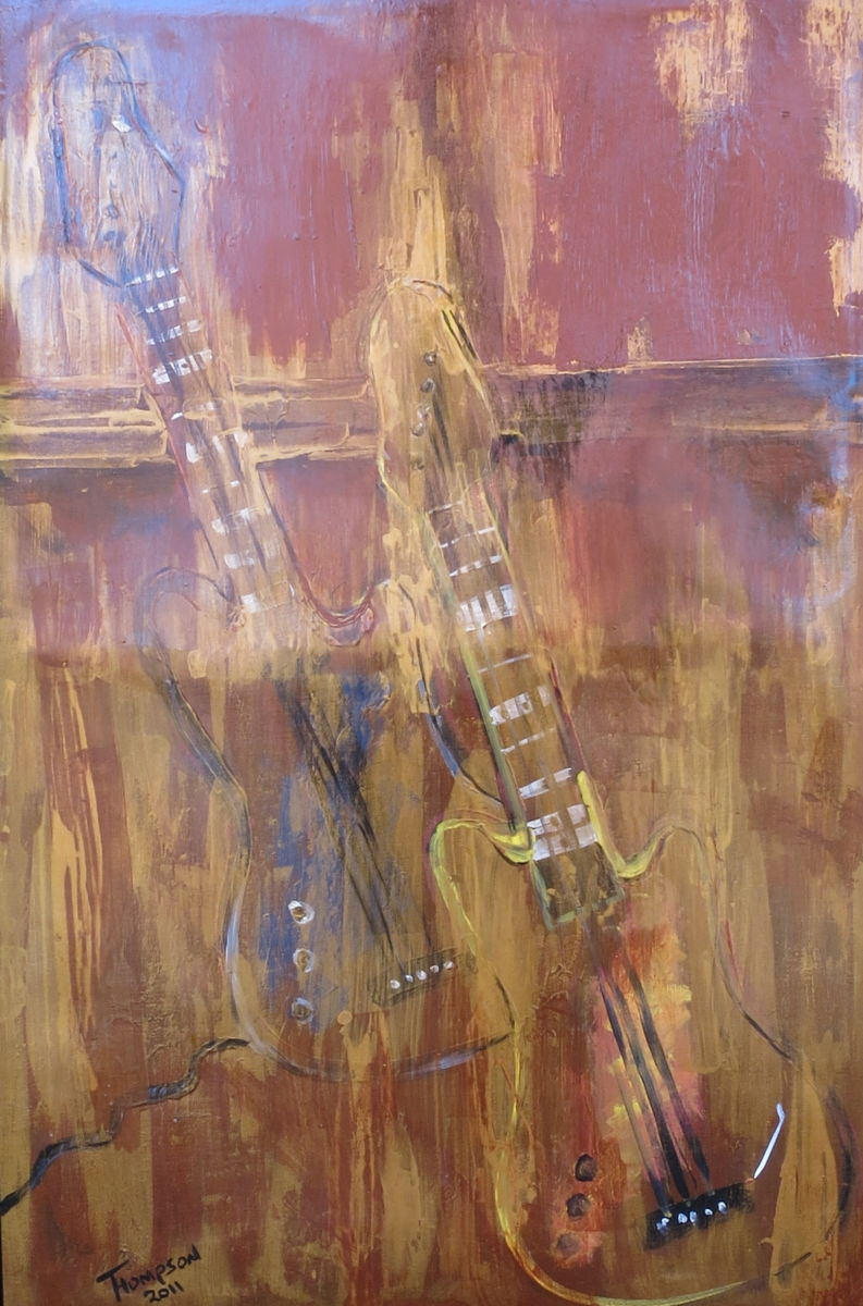Guitar 2011 - Painting,  26x38 in ©2011 by James Thompson -                                                            Abstract Art, Canvas, Abstract Art, Guitar