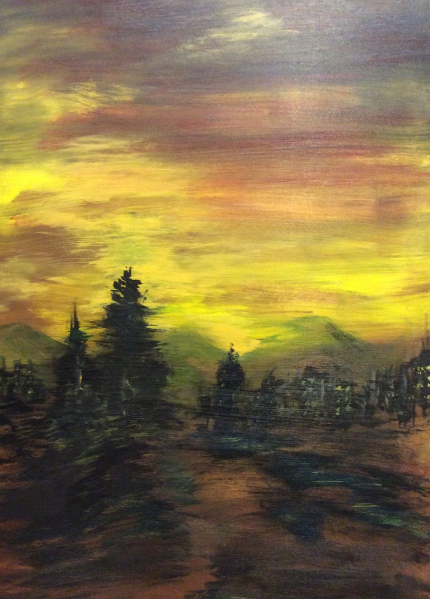Almost Home - Painting,  48x26 in ©2015 by James Thompson -                                                                        Abstract Art, Abstract Expressionism, Canvas, Landscape, mountains, city lights, forest