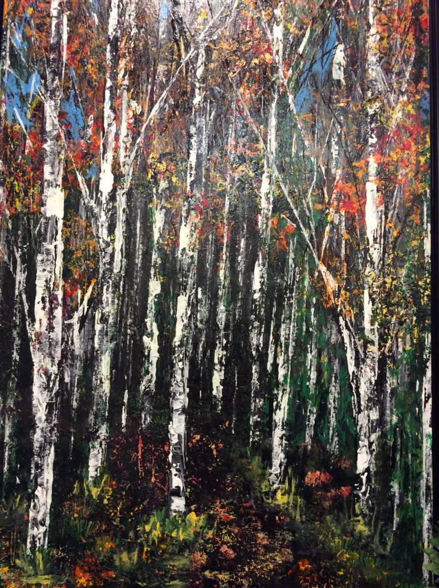 Fall Wonder 2015 Framed - Painting,  48x24 in ©2015 by James Thompson -                                                            Environmental Art, Canvas, Landscape, forest, landscape, Canada, Trees