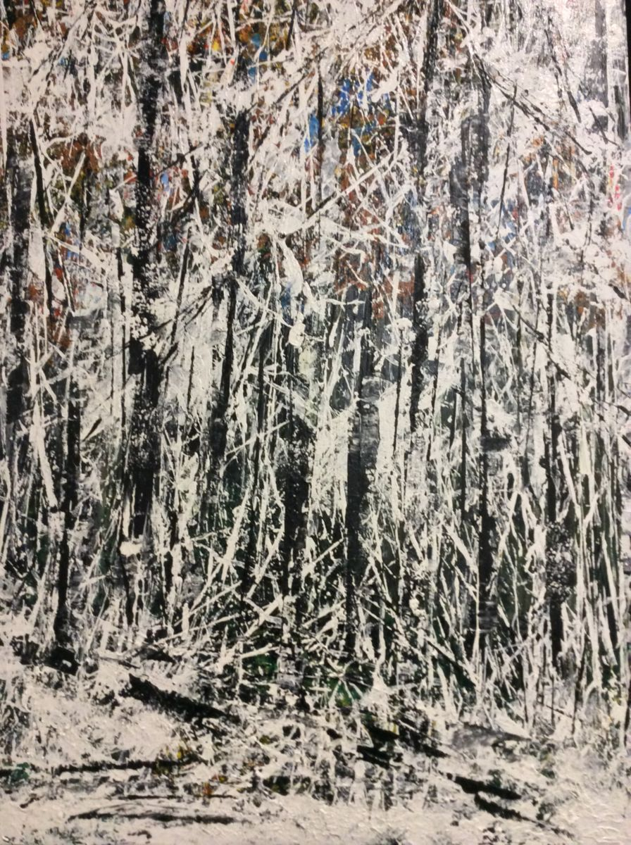 Fresh White - Painting,  24x48 in ©2015 by James Thompson -                                                            Contemporary painting, Canvas, Landscape, Winter, Canada, Forest, Snow