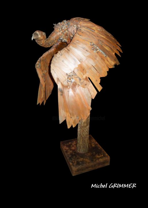 Gyps Fulvus - Sculpture,  70.9x23.6x23.6 in, ©2014 by Michel Grimmer -