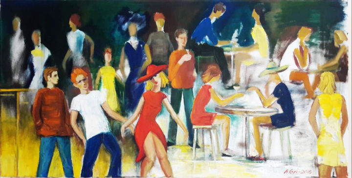 """Painting titled """"Cafe Argo"""" by Anatolijs Griscenko, Original Art, Oil"""