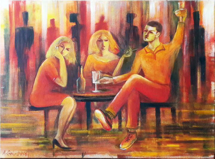 """Painting titled """"Red Cafe"""" by Anatolijs Griscenko, Original Art, Oil"""
