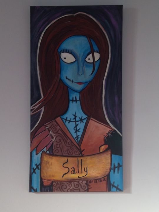 Sally Revisited - Painting,  39.4x19.7x1.6 in, ©2015 by Gu Lagalerie -                                                                                                                                                                                                                                                                  Illustration, illustration-600, Gu, Gu Lagalerie, Tim Burton